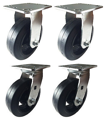 """6"""" x 2"""" Heavy Duty """"Rubber on Cast Iron"""" Caster - 2 Swivels and 2 Rigids"""