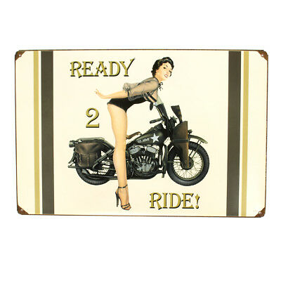 U.S. WWII Vintage Metal Sign of 1943 WLA Motorcycle and Pinup Girl