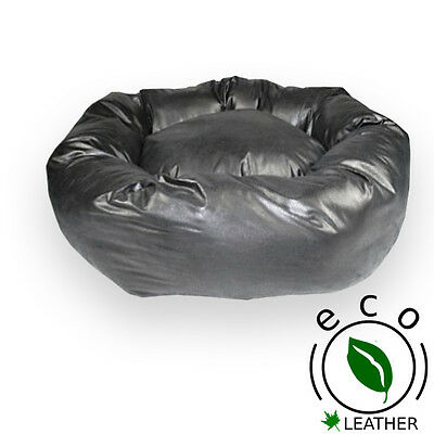 Designer Donut Dog Bed in Black Faux Leather 100% Washable in 4 Sizes