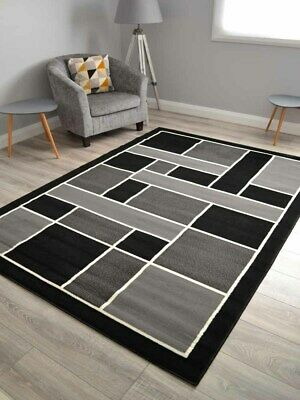 Black Silver And Grey Small Extra Large Big Huge Modern Long Runners Mats Rugs