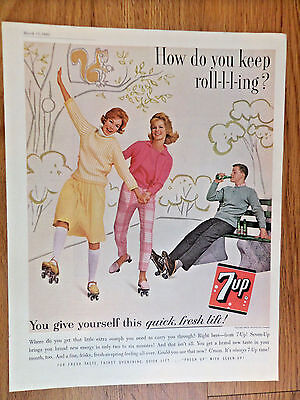 1962 7up Soda Ad Gals Roller Skating