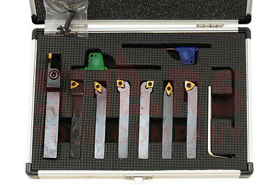 "Shars 1/2"" 7Pc Indexable Carbide Inserts Turning Tool Bit Set New"