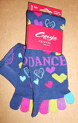 NWT CAPEZIO DANCE SOCKS w/ Colored TOES FUN HEARTS NAVY Ladies size 5-10