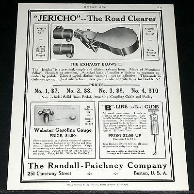 """1910 Old Magazine Print Ad, """"jericho"""" Automobile Exhaust Horn, The Road Clearer!"""