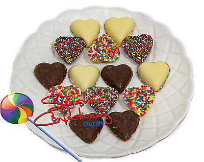 MILK & WHITE CHOCOLATE FRECKLE HEARTS - 400g WEDDING FAVOURS Post Included