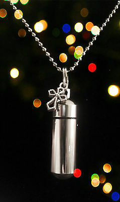 """ANOINTING OIL 24"""" Ball Chain NECKLACE  with Antique Style Silver Cross & Pouch"""