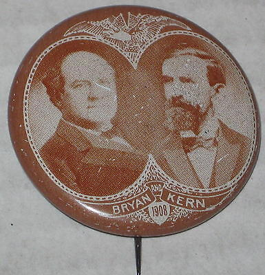 "Reproduction 1 3/8"" ""Bryan - Kern 1908"" Tin Litho Pin"