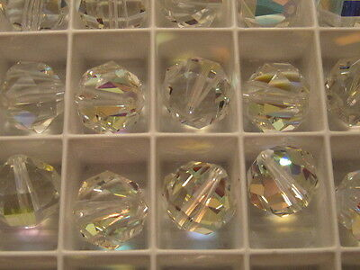 4 - 12mm SWAROVSKI 5004 CRYSTAL AB FACETED ROUND BEADS