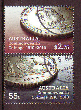Australia 2010 Commonwealth Coinage Set Of 2 Fine Used