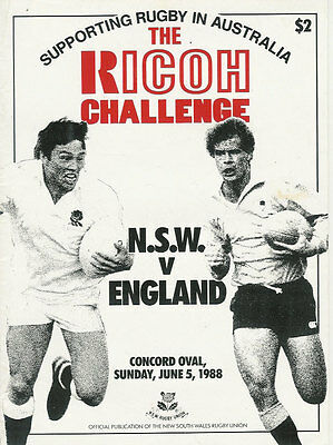 ENGLAND 1988 RUGBY TOUR PROGRAMME v NSW 5th June at Sydney