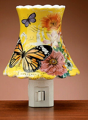 Butterfly Floral Ceramic Night Light,Nursery Home Decor