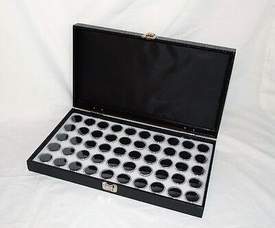 TRAVELING GEM STOREAGE CASE 25 WHT JARS BLACK FOAM