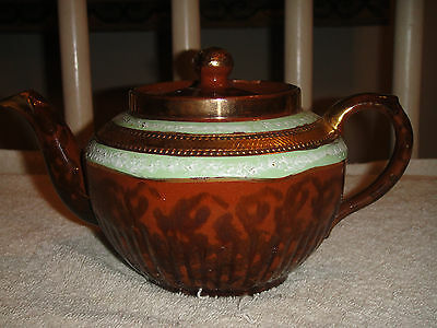 Vintage Arthur Wood Teapot Made In England-Stamped 4522-Genie Style-Gold & Lime