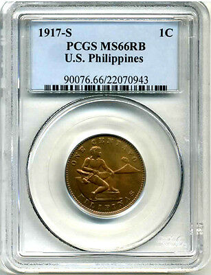 1917-S One Centav0 Philippines PCGS MS66RB  ** VERY VERY RARE** HIGHEST GRADE!