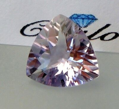 1x Pink Prassiolith / Amethyst - Trillion Schachbrett facettiert 11x11mm(AM053)