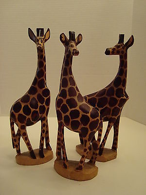 Set of 3 Hand Carved Handpainted 12 1/2 Inches Tall Giraffe Figurines