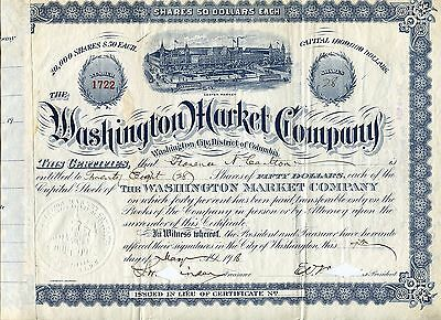 1910s Washington Market Company cancelled $50/share certificate, BEAUTIFUL SEAL