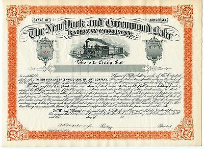 GORGEOUS New York and Greenwood Lake Railway Company Unissued 1800s certificate