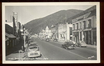 WALLACE, ID ~ BANK STREET ON HWY 10, CARS ~ REAL PHOTO RPPC ~ c. 1940's