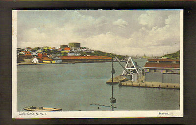 CURACAO, DWI ~ PANORAMIC VIEW OF HARBOUR ~ used c. 1910's