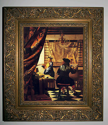 VERMEER THE ART OF PAINTING  - GOLD FRAMED CANVAS PRINT 8x10