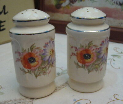 Vintage Salt & Pepper Shakers Anemones/Purple Daisies Gold Trim with Corks