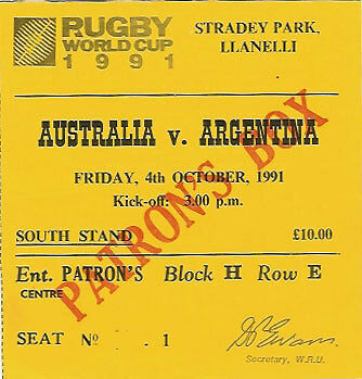 AUSTRALIA v ARGENTINA RUGBY WORLD CUP 1991 TICKET