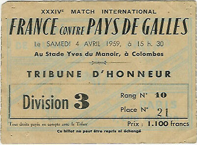 FRANCE v WALES 4th April 1959 RUGBY TICKET