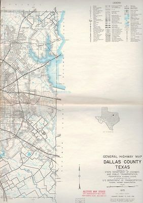 Vintage Dallas County, Texas TX General Highway Map - 1975 State Highway Dpt