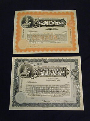 PAIR Washington Baltimore and Annapolis Electric Railroad unissued signed ca1910