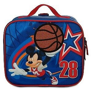 Mickey Mouse Blue Lunch Tote w/Basketball Decal. 8 X 9