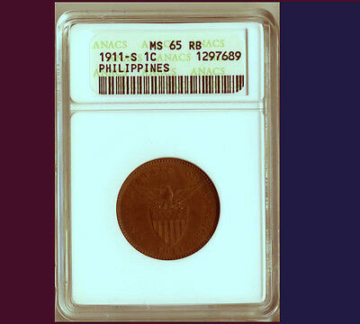 1911-S One Centavo Us-Philippines Anacs Ms65Rb - Very Rare ***wow***