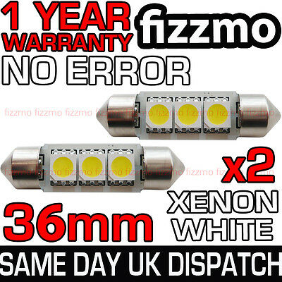 2x 3 SMD LED 36mm C5W CANBUS ERROR XENON WHITE NUMBER PLATE LIGHT FESTOON BULB