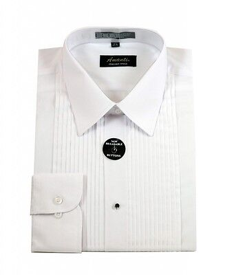 Mens Lay Down White Tuxedo Shirt Modern Fit Wrinkle-Free Cotton Blend Amanti