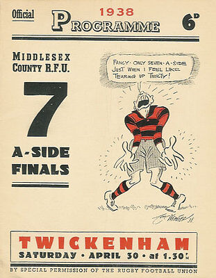 Middlesex Sevens 1938 Rugby Programme Winners Metropolitan Police