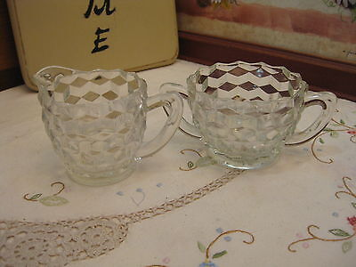 Vintage Jeanette Cube Clear Depression Glass Footed Creamer & Open Sugar Bowl