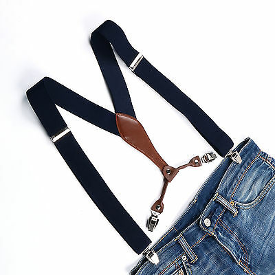 New Adjustable Mens Solid Navy Suspenders 3.5 CM Width Clip-on Braces BD607
