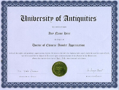 Doctor Antique Chinese Amulet Appreciation Diploma