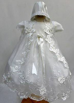 New Infant Girl White Gown Christening Baptism Dress Size 0 1 2 3 4 (0M to 30M)