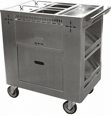 "ACE Stainless Steel Chinese Dim Sum Cart w/ 6"" Swivel Casters C-GRL"