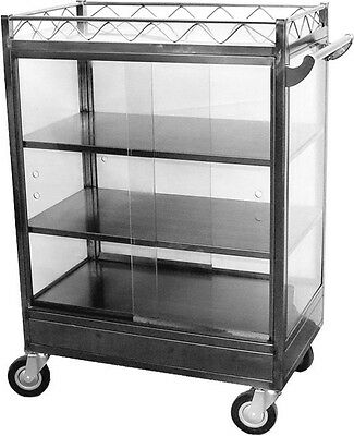 "Stainless Steel Chinese Dim Sum Cart w/ Warmer Ready & 6"" Swivel Casters C-DSMW"