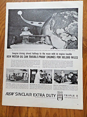 1956 Sinclair Oil Ad  Driving Almost Halfway to the Moon