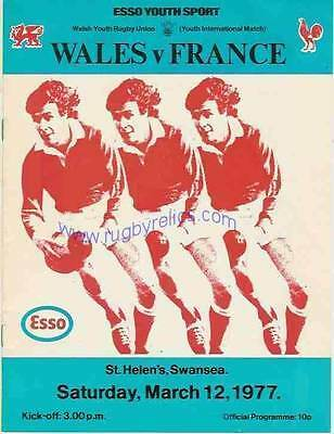 WALES v FRANCE YOUTH UNDER 19 1977 RUGBY PROGRAMME