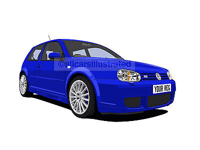 Vw Golf R32 Car Art Print Picture (Size A3). Personalise It!
