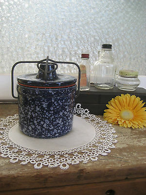 Vintage Canister Storage Jar Pottery Speckled Cobalt Blue With Wire Bale