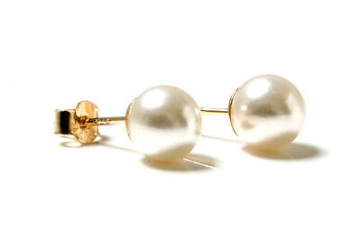 9ct Gold 6mm Pearl Stud earrings, Gift Boxed Made in UK
