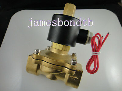 """Brass Electric Solenoid Valve Water Air N/O 110V AC 1"""" Normally Open Type"""