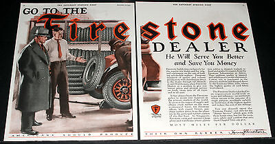 1926 Old Magazine Print Ad, The Firestone Tire Dealer, Serves You Better, Art!