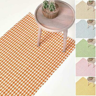 Washable Cotton Gingham Rugs Pink Blue Beige Green Orange  Carpet Kids Bath Mats