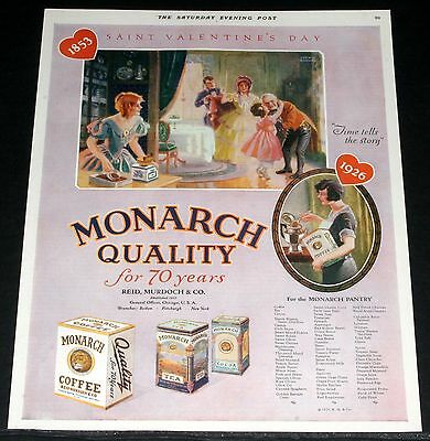 1926 Old Magazine Print Ad, Monarch Quality Brand Foods, St. Valentines Day Art!